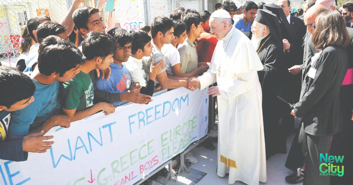Pope Francis with Refugees
